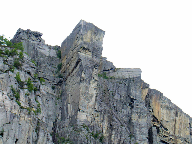 Close-up view of Preikestolen or Pulpit's Rock taken from 2,000 feet below its summit.