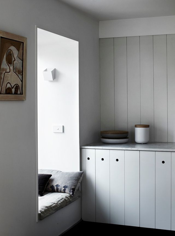 minimal and Scandinavian wooden kitchen with no handles