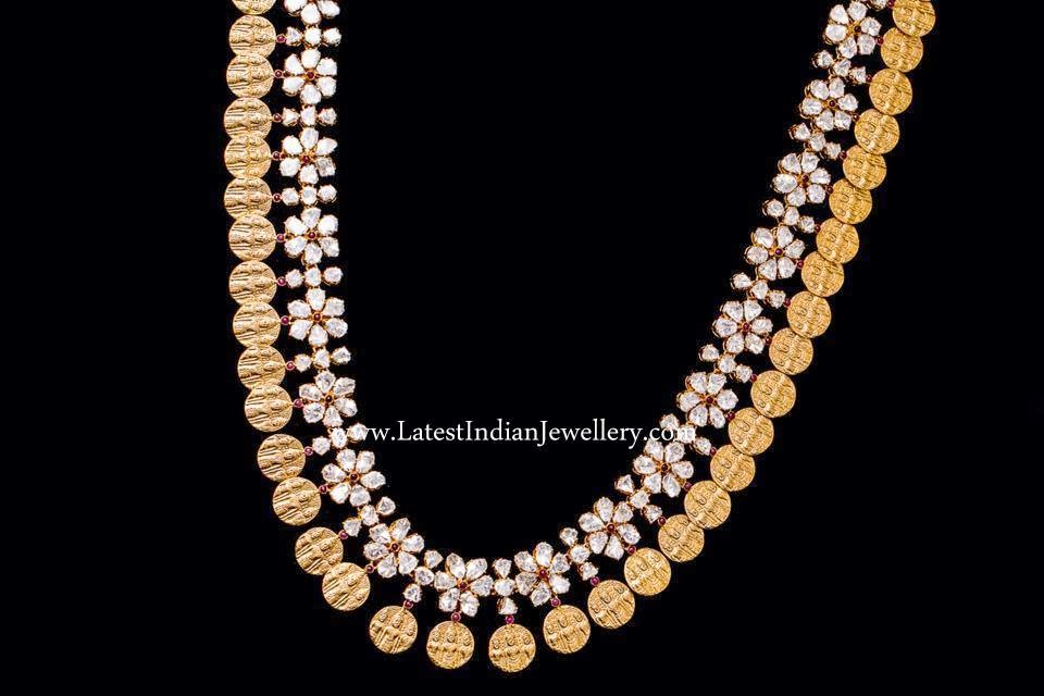 Fashionable Polki Diamond Kasu Mala