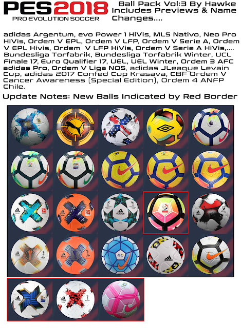 PES 2018 Ball Pack V3 dari Hawke