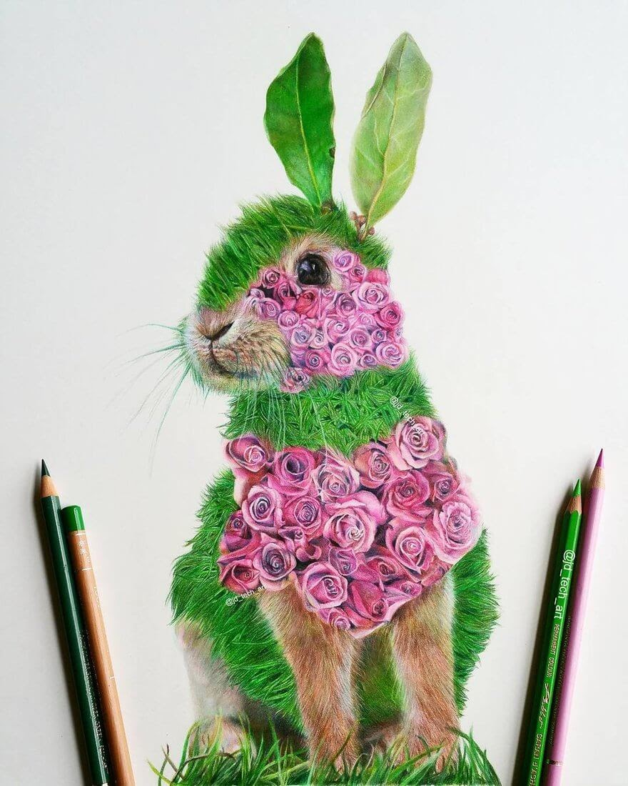 03-Rose-Rabbit-Joshua-Dansby-Fantasy-Animal-Combination-Drawings-www-designstack-co