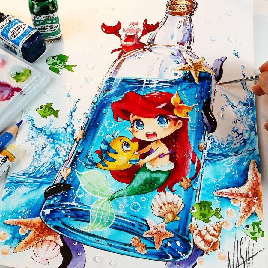 13-Under-the-Sea-The-Little-Mermaid-Nashi-Illustrations-that-Bring-out-Depth-of-Colour-in-Manga-Comics-www-designstack-co