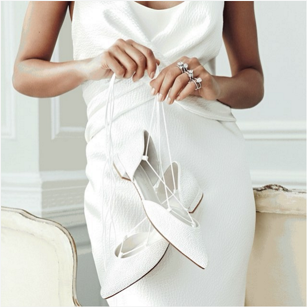 Stuart Weitzman Bridal Collection shoes: GILLIGAN lace-up pointy-toed flats in white