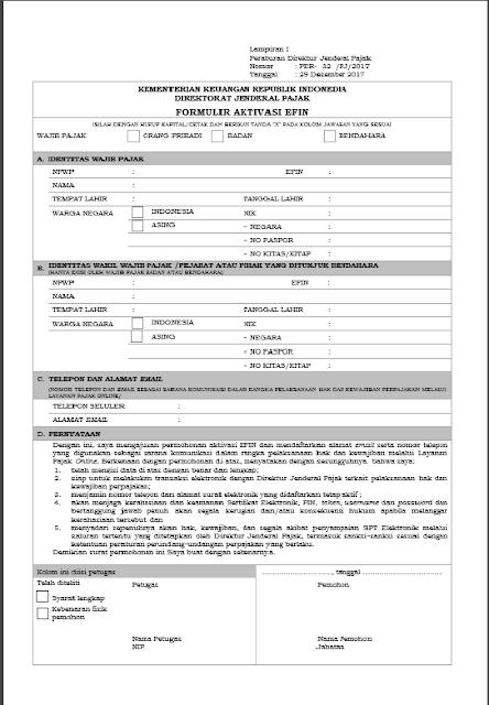 Download Formulir Permohonan Aktivasi EFIN