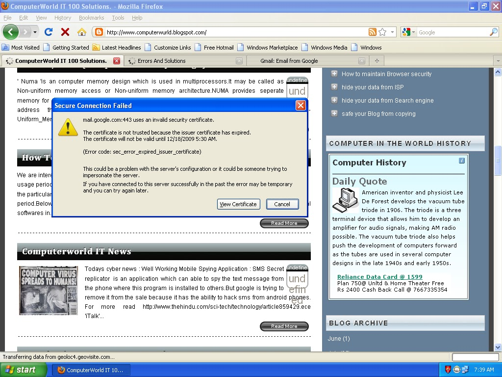 Troubleshooting windows errors and solutions october 2010 secure connection failed mailgoogle443 uses an invalid security certificatee certificate is not trusted because the issuer certificate has 1betcityfo Gallery