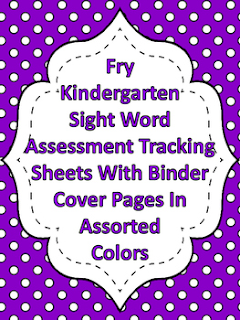 Fry Kindergarten Sight Word Tracking Binder