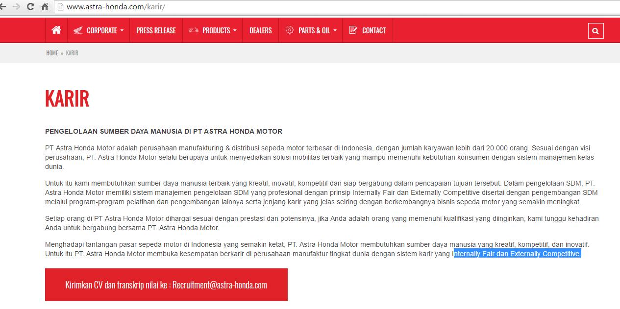 info loker - pt astra honda motor (ahm) lowongan via email | info