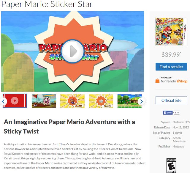 Paper Mario Sticker Star is not an RPG Nintendo 3DS