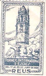 Sello conmemorativo del Torneo Internacional de Ajedrez de Reus 1936