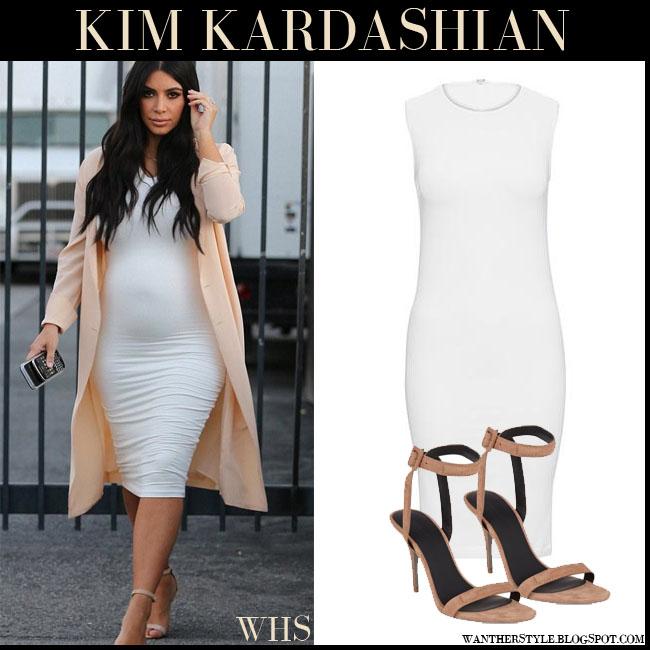 b57af217ef2 Kim Kardashian in white bodycon Wolford dress and beige suede ...