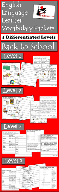 Free school supplies and school environment esl vocabulary packets with four different levels from Raki's Rad Resources