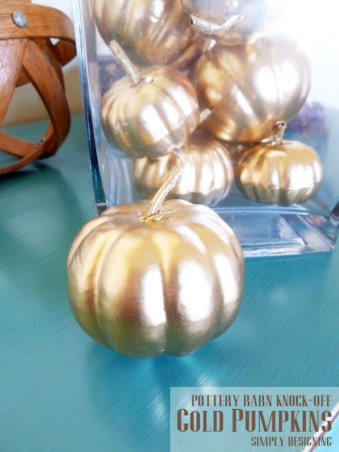Gold Pumpkins Pottery Barn Knock-Off | #fall #halloween #crafts
