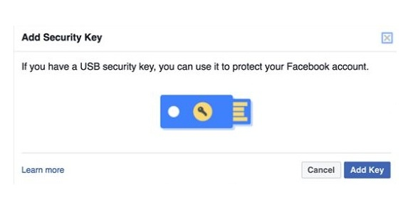secure facebook account with key