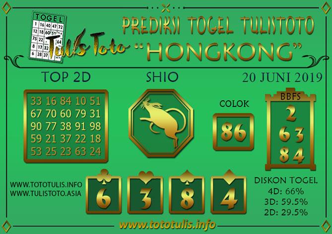 Prediksi Togel HONGKONG TULISTOTO 20 JUNI 2019