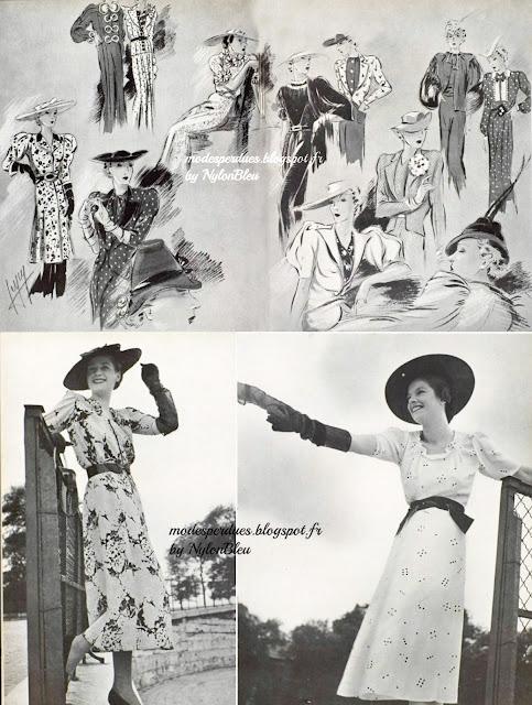 Créations par Worth (robe en lainage noir avec tunique de toile blanche  imprimée), Molyneux (Ensemble en foulard bleu à pois blancs), Suzanne  Talbot (feutre ... 7447cbd4a4f