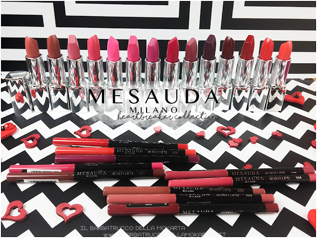makeup swatch heartbreaker lipstick, rossetto matt , matt lipstick , mesauda