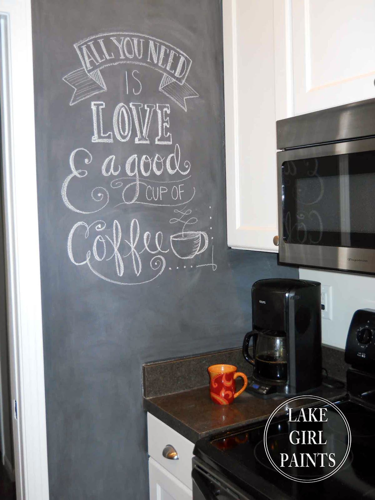 chalkboard in kitchen white round table lake girl paints painting my wall with