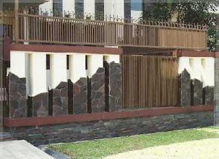 desain pagar minimalis batu alam templek