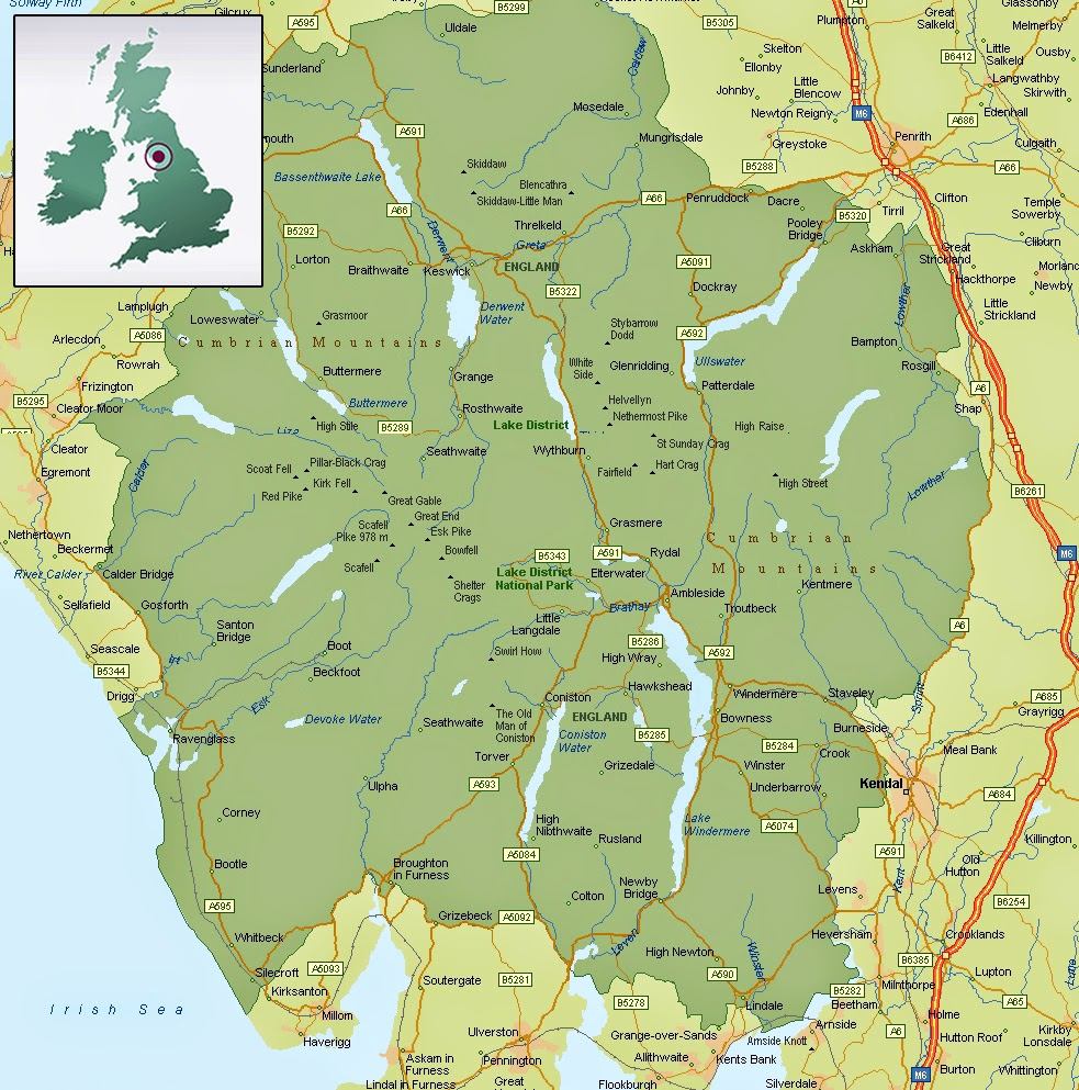 map of lake district, where is the lake district, lakes, walking, wainwrights