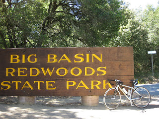 Big Basin Redwoods State Park sign at the top of China Grade