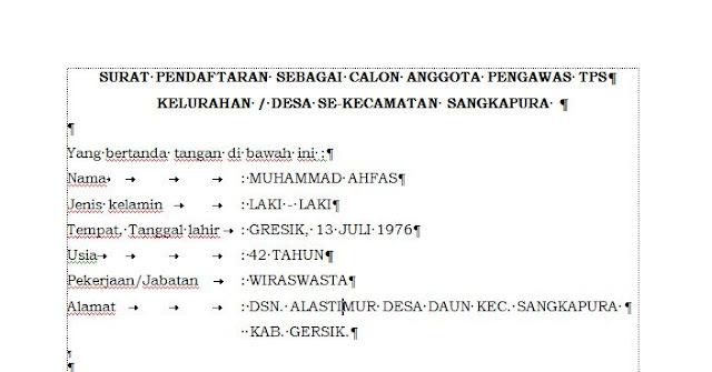 Contoh Surat Pendaftaran Sebagai Calon Anggota Pengawas TPS Kelurahan/Desa Se Kecamatan Sangkapura