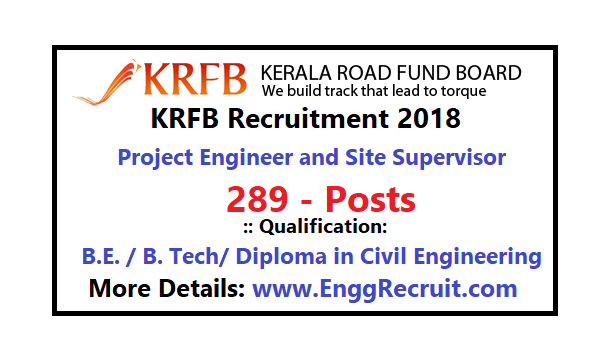 KRFB Recruitment 2018 for Project Engineer and Site Supervisor