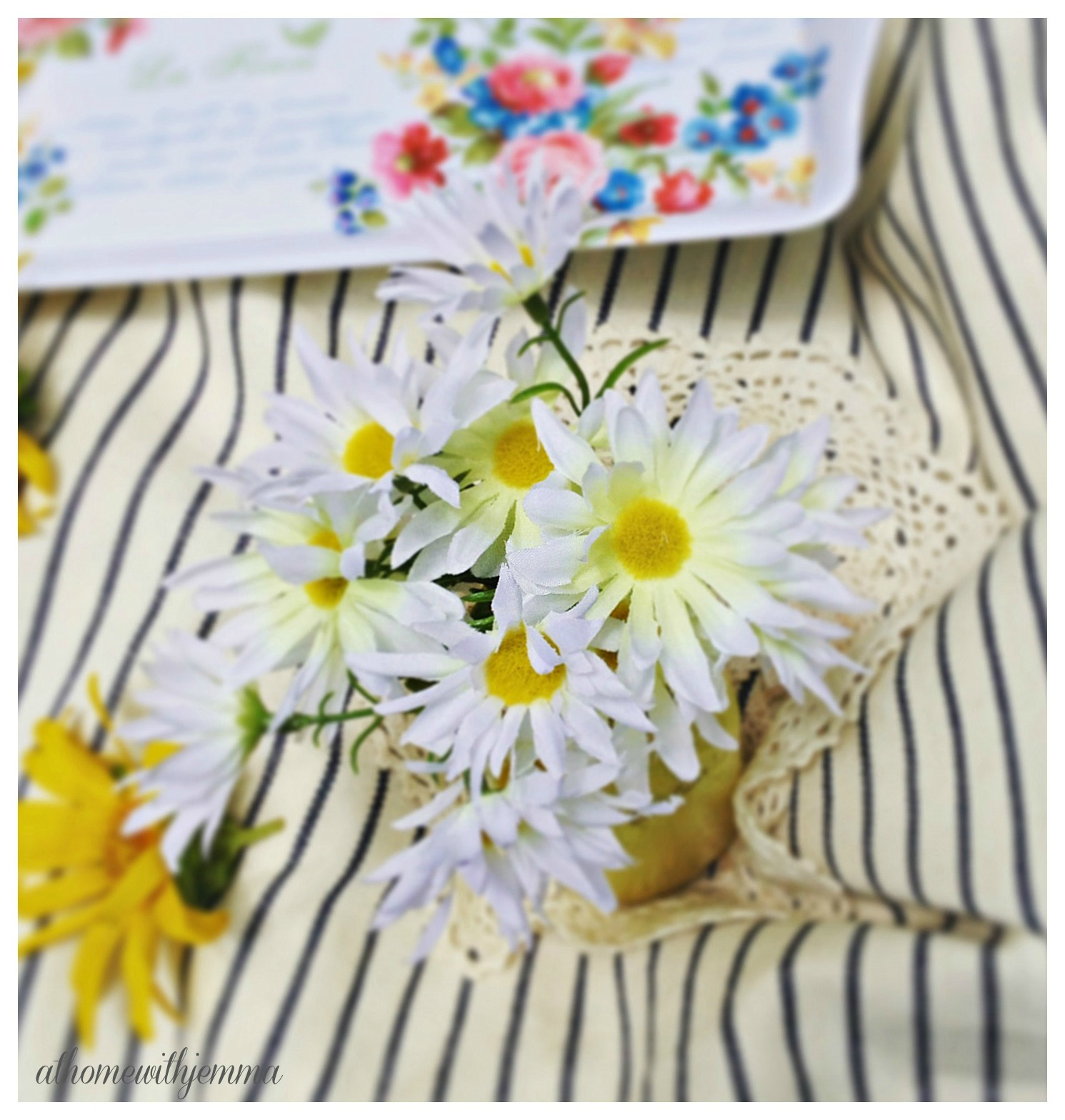 Stripe table cloth, daises, white and yellow daisy, english serving dish