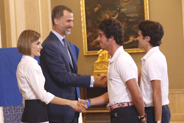 Queen Letizia and King Felipe receive 'Europa Scholarship' pupils at the Zarzuela Palace
