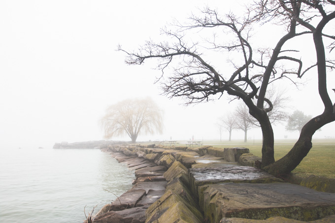 lake erie, cleveland, fog, foggy