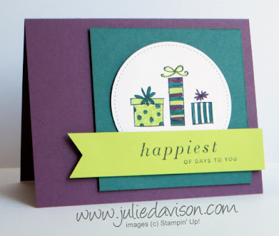 Stampin' Up! Happiest of Days Masculine Birthday Card ~ 2017-2018 Annual Catalog ~ In Colors: Fresh Fig, Tranquil Tide, Lemon Lime Twist ~ www.juliedavison.com
