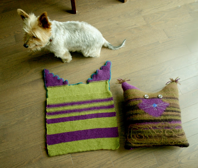 Before & after felting process of knitted pillows