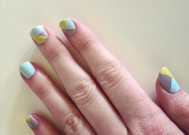Mint grey yellow geometric nail art