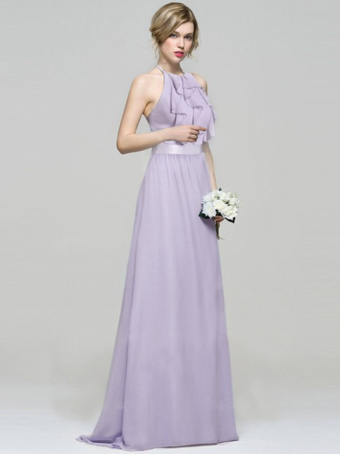 Sleeveless Long Halter Neck Bridesmaid Dress (Price:$24.99)