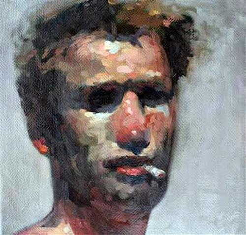 Stefán Boulter, Self Portrait, Portraits of Painters, Fine arts, Painter Stefán Boulter