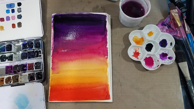watercolor sunset, gradiated wash, graduated wash