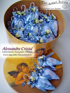 bomboniere economica battesimo blu segnalibro angelo