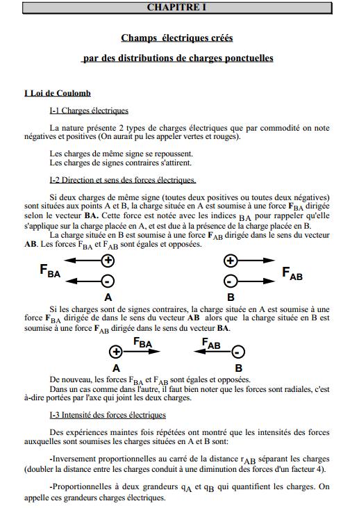 Cours éléctricité 1 s2
