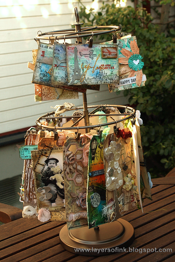 Layers of ink - Clip Carousel for tag and ATC cards by Anna-Karin with Tim Holtz ideaology