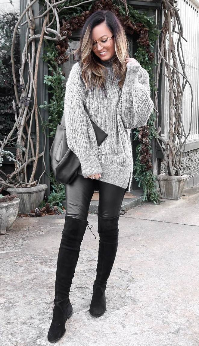how to wear a grey oversized sweater : bag + over knee boots + leather skinnies