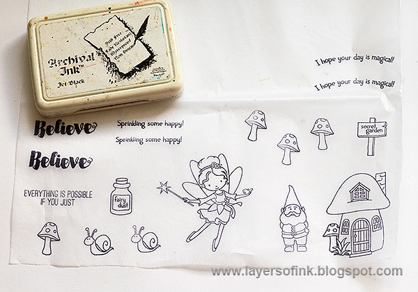 Layers of ink - Gnome Home Mixed Media Tutorial by Anna-Karin with Stamptember stamps.
