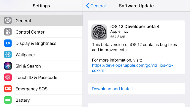 Apple released fourth developer beta of iOS 12