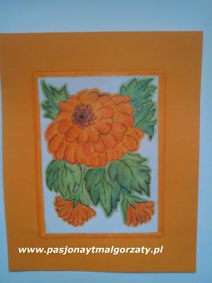 kwiatek pmarańczowy malowany kredkami bambino
