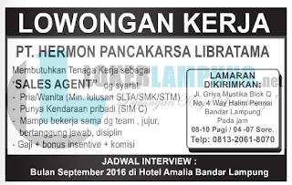 Lowongan Kerja di PT. Hermon Pancakarsa Libratama Bandar Lampung Terbaru Agustus 2016