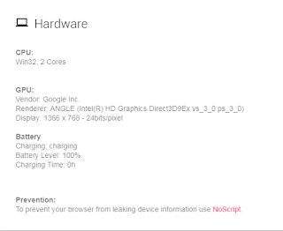 Hardware information to browser.
