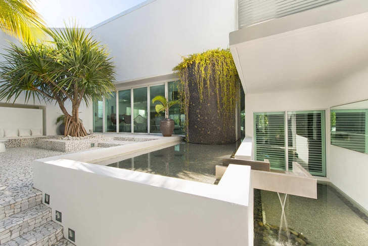Pond in the Modern mansion in Miami