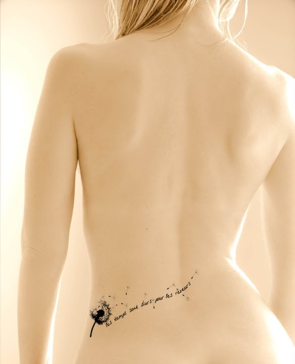 Dandelion+and+quote+lower+back+body+Female+tattoo