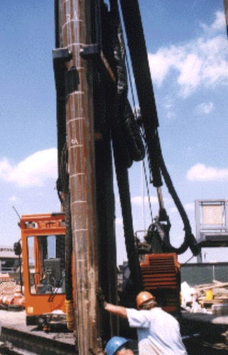 Tapered piles are used to drive both end bearing and frictional resistance from wedge action