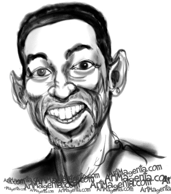 Will Smith caricature cartoon. Portrait drawing by caricaturist Artmagenta.