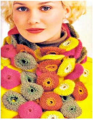 bufandas yo-yos, patrones crochet, diagrama ganchillo