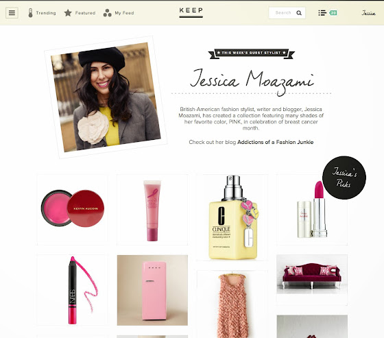 Jessica Moazami aka fashion junkie featured as Guest Stylist on Keep.com for Breast Cancer awareness month
